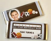 Sports birthday favor, sports birthday party, photo favor, all star baby shower, boy birthday party, personalized candy bar wrappers, 24 ct