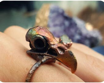 Bird skull ring ~ owl, raven, crow, vulture skull ~ copper electroformed rainbow patina size 8 ring