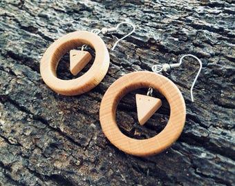 Cork Wood Hoop Earrings