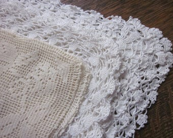 3 White & Ecru Vintage Hankies~Ladies Handkerchiefs~Embroidered Floral~Intricate Crocheted Lace~Hanky Lot~Wedding~Satin Padded Embroidery
