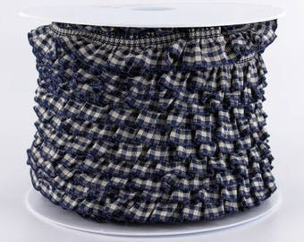 Ruffle stripe Navy gingham 19mm