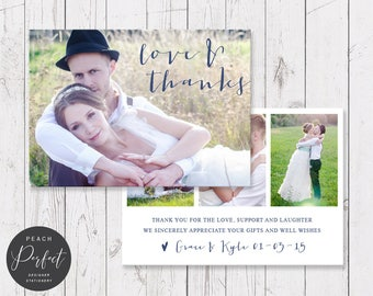Navy and White Wedding Thank Your Card, Photo Thank You, Free Colour Changes, 4 Photos, Professionally Printed - Peach Perfect Australia