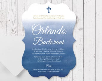 Boy Baptism or Christening Invitation, Navy Blue and Gold Ombre Watercolour, Large A5 Size Die Cut Scallop Shape, Professionally Printed