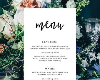 Wedding Menu, Custom Printable Menu, Digital Menu, Corporate, Black and White, Free Colour Changes, DIY Wedding, Audrey Suite