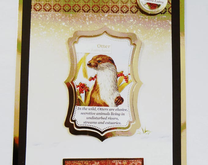 Otter Christmas Card, Nature Christmas Card, Greeting Card, Festive Card, Gold and Brown, Male or Female, Any Age