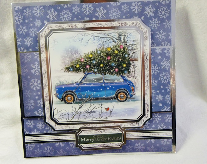 Traditional Christmas Card, Greeting Card, Blue Car, Christmas Tree, Silver, White and Blue, Male or Female, Any Age