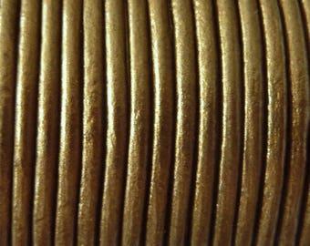 1 m leather cord 2 mm metallic gold PR08.5