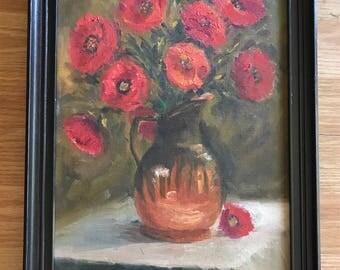 Vintage Framed Oil Painting- Floral Poppies Still Life