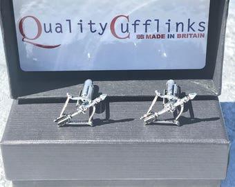 Crossbow Cufflinks, Silver Crossbow cufflinks, hunting gifts, bow and arrow cufflinks, hunting gifts, medieval cufflinks, weapons cufflinks