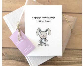 Little Bun Birthday // baby birthday, bunny card, cute card, baby card, pun card, punny, rabbit card, bunny theme, baby gift, birthday card