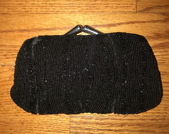Vintage 20's Black Beaded Finger Clutch with Mirror