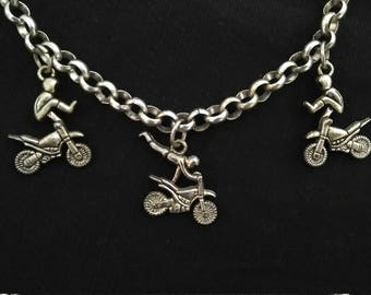 trio of motorcycle stunt necklace