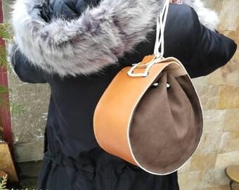 Designer Small Leather Purse, Handmade Leather Pouch. Small Leather Purse. Leather Accessories. Small Handbag. Unique brown and orange purse