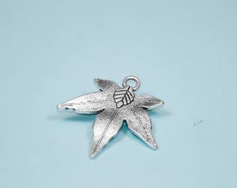 Silver Maple Leaf Pendant Charm