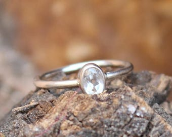 On Sale Natural White Topaz Ring - 925 Sterling Silver Handmade Ring - Gift Ring