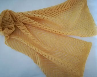 yellow lace scarf / yellow scarf/ lace scarf/ wool scarf