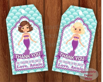 Thank you cards Mermaid Favor tags digital gift Decoration swim birthday printable DIY Pool Party Thank you card tag Swimming #FTPool3