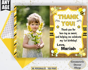 Bee Thank you card Rustic Party Burlap Birthday Yellow Black Digital PRINTABLE Photo Photograph THBee1