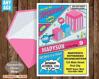 Superhero / Birthday / Invitation / Party / Invite / Superheroes / Girl / Pink / Teal / Purple / Yellow / Blue / BDSH2