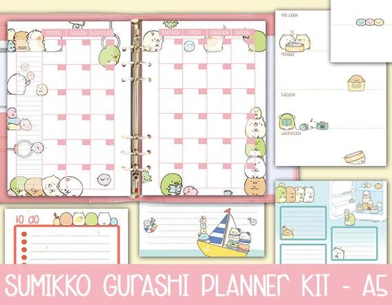 printable a5 planner kit SUMIKKO GURASHI weekly planner