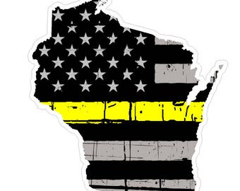 Wisconsin State (E49) Thin Yellow Line Dispatch Vinyl Decal Sticker Car/Truck Laptop/Netbook Window