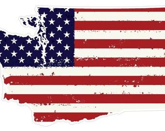 Washington State (J47) USA Flag Distressed Vinyl Decal Sticker Car/Truck Laptop/Netbook Window