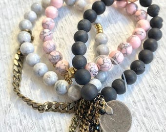 Beaded Stackable Stretch Bracelet in Pink,Grey, and Black with chains