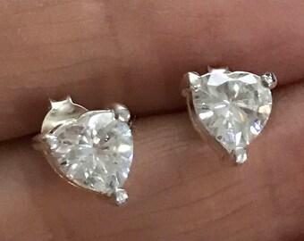 Sterling Silver 6mm Heart Shaped Cubic Zirconia cz Stud Earrings