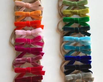 Velvet Hair Bow / Simple Hair Bow / Ribbon Bow / Girl's Hair Bow / Baby Headband / Classic Velvet Hair Bow / Gift for Baby Girl