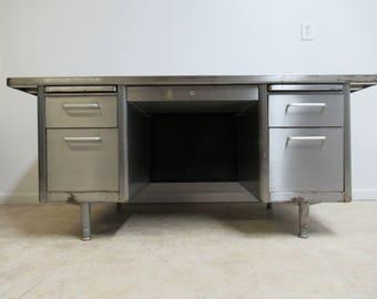 vintage metal office desk. vintage industrial mid century steel 1950s office desk metal