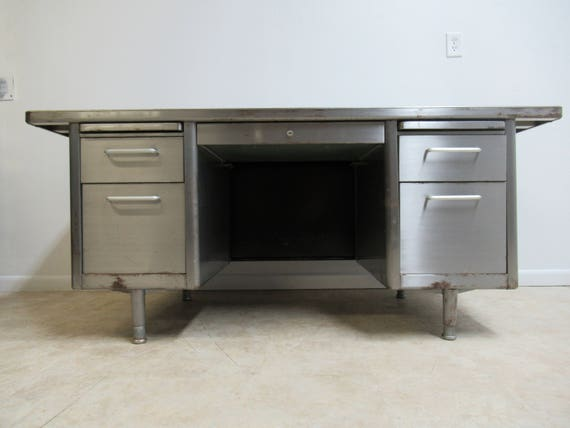 Vintage Industrial Mid Century Steel 1950s Office Desk