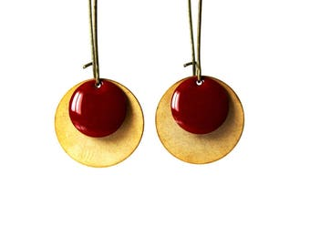 Earrings ° Sequins glazed (brick red)