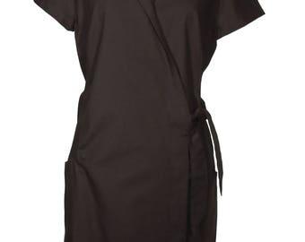 Kleid Jördis - Wickelkleid im Hemdblusenstil in Schwarz! aus Biobaumwolle