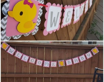 Welcome Baby Duckie themed Banner, Rubber Duck Babyshower Banner