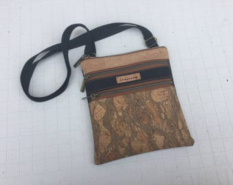Zippered crossbody bag, cork, ecofriendly, cork purse, cork bag, emerald, black