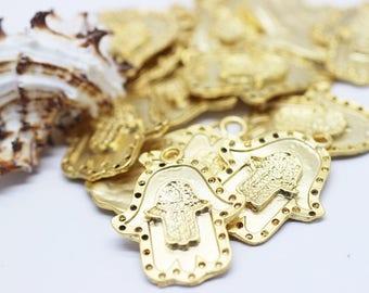 5 pcs 24 K Matt Gold Plated Double Hamsa Hand of Fatima  30x38 mm - Hamsa Charm - Fatima Hand - Hamsa Charms - Gold plated hamsa pendant