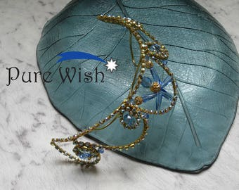 Gold and cornflower blue tiara - Frame Style T_10