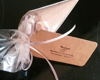 50 Warm hot cocoa and marshmallow cone favours, wedding favours
