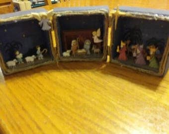 Three part hinged nativity shadow box- handpainted Christmas decor