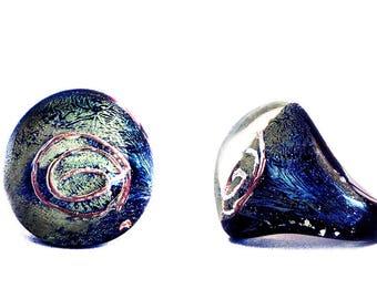 Murano Glass Ring, 'Hieroglyph Dome' in Black Silver by Mystery of Venice, Glass Ring, Murano Glass, Murano Glass Jewelry, Symbolic Ring
