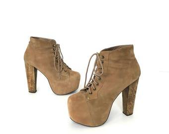 Women's Size 6.5 90's Tan Suede Platform Boots