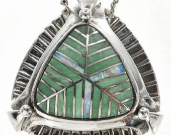 Variscite Opal Silver Slider Pendant Inlaid with Chain