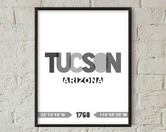 Tucson Print, Tucson Printable, Tucson Poster, Tucson Wall Art, Tucson Coordinates, Tucson Minimalist (W0238)