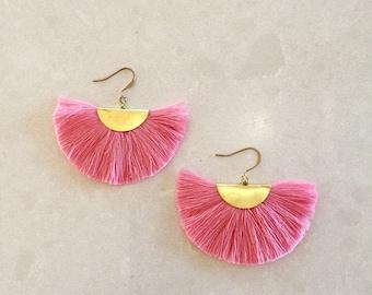 brighter pink fan earrings