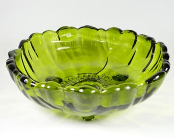 Large bowl or solid green pressed glass bowl and heavy