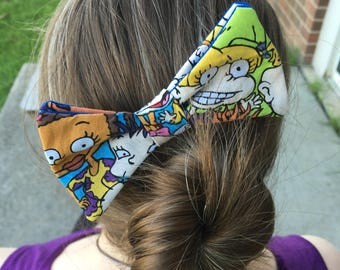 Rugrats Themed Hair Bow, Hair Clip, Hair Accessories, Nickelodeon, Tommy Pickles, Reptar, 90's, Throwback, Cartoon, Dapper On Arrival