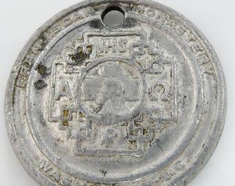 St Saint Christopher Protect Us Medal Coin Franciscan Monastery Washington DC Vtg