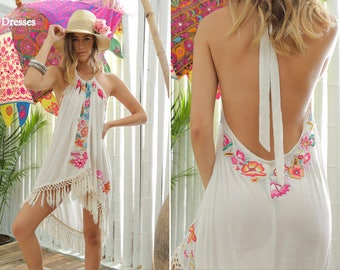Flower Lover Halter Top Cover Up Low Back Dress with Fun Fringes