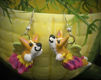 Corgi Fairy Dangle Earrings