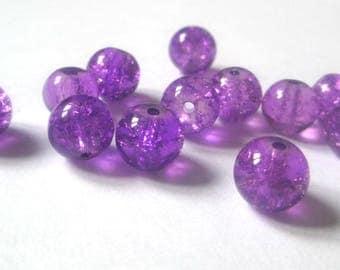 10 purple Crackle Glass 8mm beads